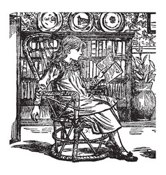 Girl reading bookcase vintage engraving vector