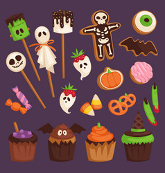 Halloween cookie cake symbols of food for creepy vector