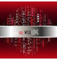 I love you words red background vector image