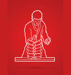 Karate man breaking bricks graphic vector