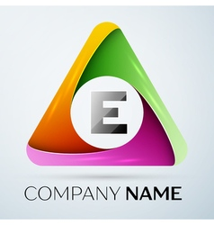 Letter e logo symbol in the colorful triangle vector