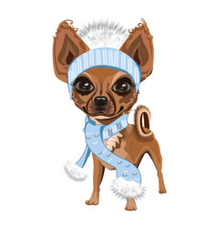 Little doggy in hat vector