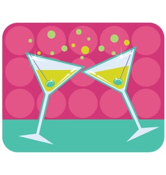 Martinis with olives vector