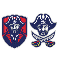 One eye pirate mascot vector