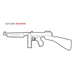 outline tommy gun vector image vector image
