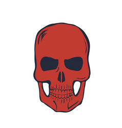 Red skull on white background vector