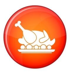 Roasted turkey icon flat style vector