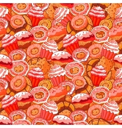 seamless pattern with hand drawn pastries vector image vector image