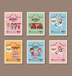 set on birthday kids party invitation card vector image
