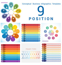 Set templates infographics business conceptual vector