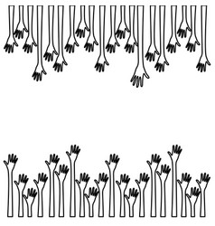 Silhouette border set hands up and opened icon vector