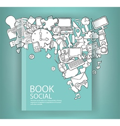 Social network background with media icons book vector image