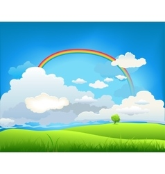 Summer landscape with a rainbow vector image vector image