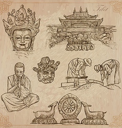 Tibet Travel - Pictures of Life pack vector image vector image