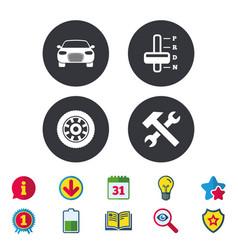 Transport icons tachometer and repair tool vector
