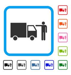 Truck customer framed icon vector