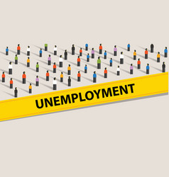 Unemployment rate people protesting crowd vector