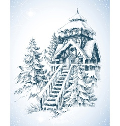 Winter nature pine trees and house in the snow vector