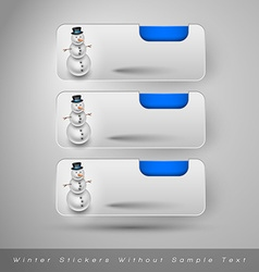 Winter stickers with snowman design elements vector image