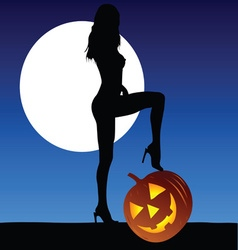 woman with halloween pumpkin vector image vector image