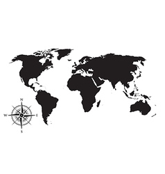 world map and compass vector image vector image