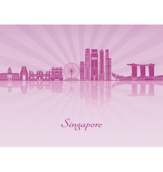 Singapore v2 skyline in purple radiant orchid vector