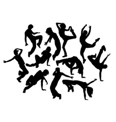 Happy break dance expression silhouettes vector
