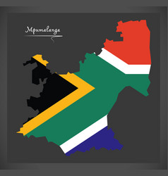 Mpumalanga south africa map with national flag vector