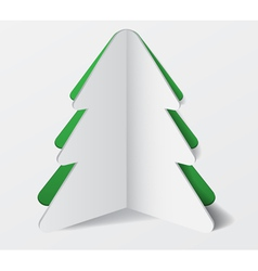 Paper cardboard christmas tree banner vector