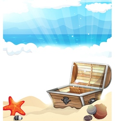 Treasure chest on the sand vector