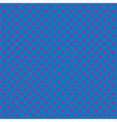 Tile pattern pink polka dots on blue background vector image