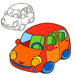 Car coloring book page cartoon vector