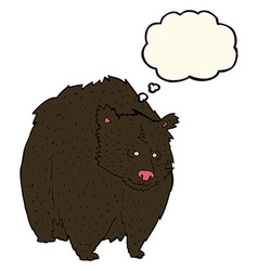 Huge black bear cartoon with thought bubble vector