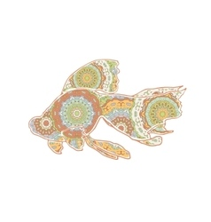 Hand drawn floating goldfish with mandalas vector