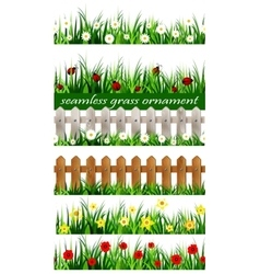 Big green grass seamless set vector