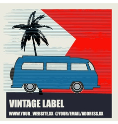 Tropical camping vintage label vector
