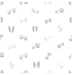 Basic animal footprints gray and white seamless vector