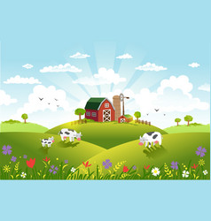 beautiful landscape with vector image vector image