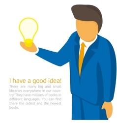 Businessman holding a light bulb vector