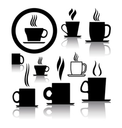 coffee and tea cup icons vector image vector image