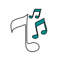 Color silhouette image of musical notes vector