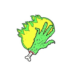 Comic cartoon gross flaming zombie hand vector