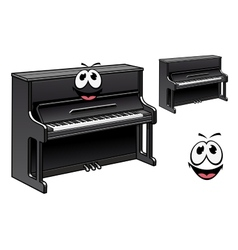 Cute black piano cartoon character vector image vector image