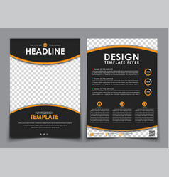 Design flyers black with orange elements brochure vector