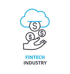 Fintech industry concept outline icon linear vector
