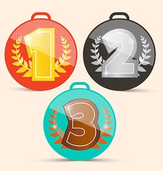First second and third place retro medals set vector