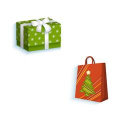 flat present gift box paper shopping bag vector image