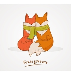Fox cute greetin card Valentines day vector image vector image
