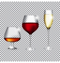 Glass of champagne cognac and wine on transparent vector