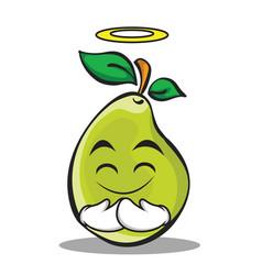 Innocent face pear character cartoon vector
